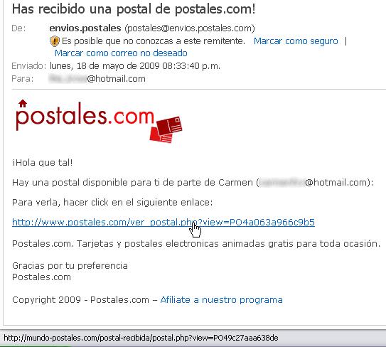Has recibido una postal de postales.com!