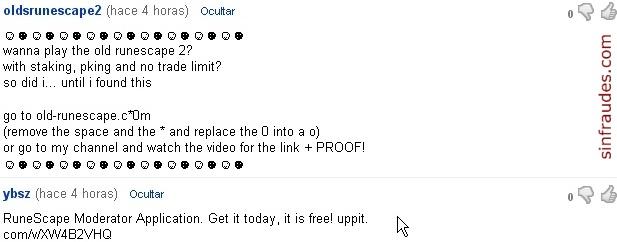 Mensajes en Youtube