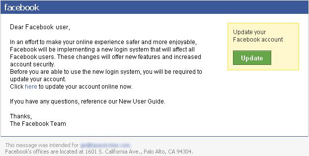 Mensaje Falso de Facebook